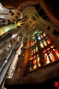 An interior view of the Sagrada Familia