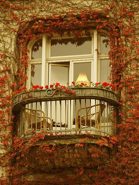 Balcony with plants on it.