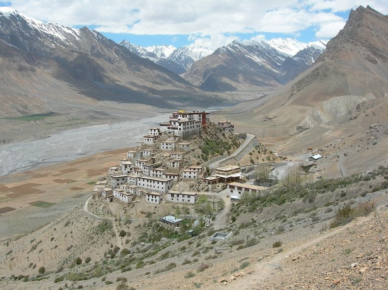 Key Gompa with Spiti River, India.