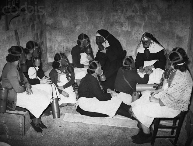 Nurses and Nuns Wearing Gas Masks