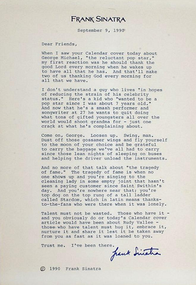 Frank Sinatra to George Michael.