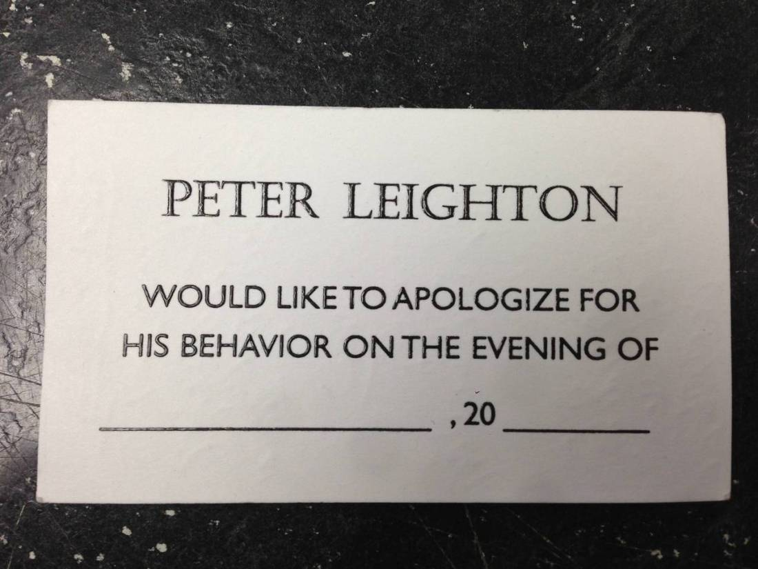 Peter Leighton is sorry.