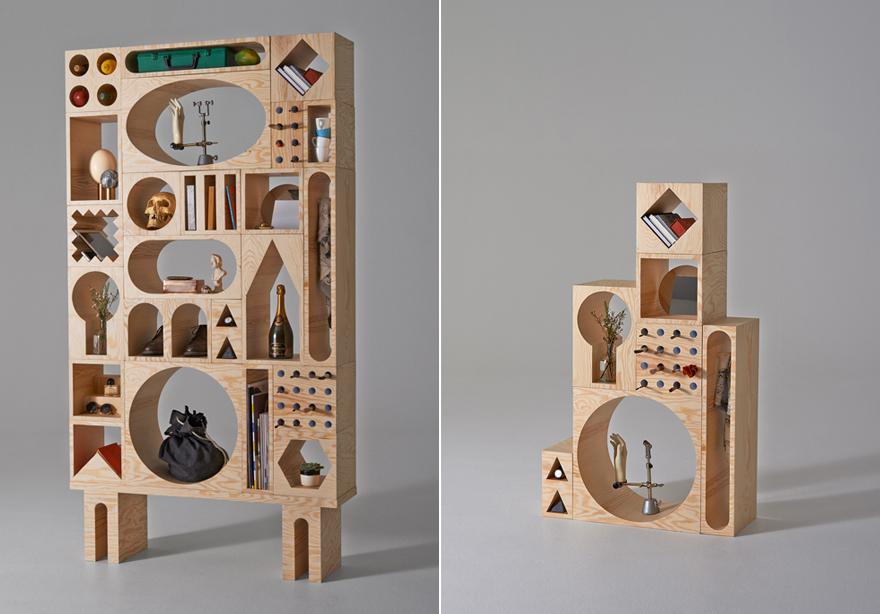 Modular shelving.