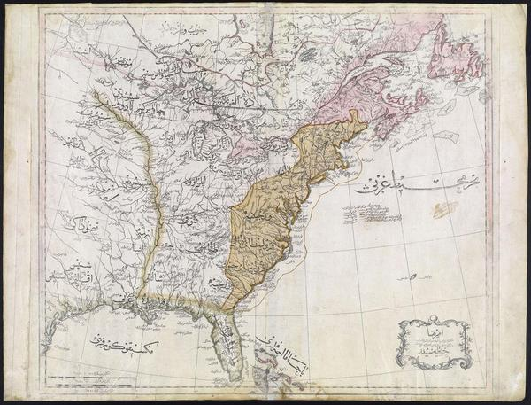 Ottoman map of the United States, 1803.